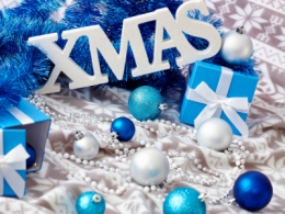 Blue Christmas Ornaments & Sign