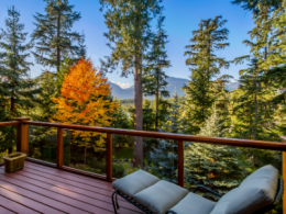 Patio with a view of the mountains in the fall