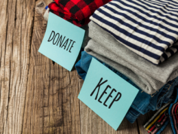 Clothing with sign Donate or Keep