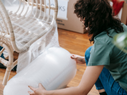 Wrapping Furniture With Bubble Wrap For Storage