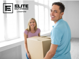 Couple holding a box moving