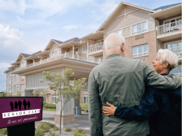 Couple hugging in front of Senior Care Facility