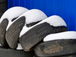 Tires covered in snow